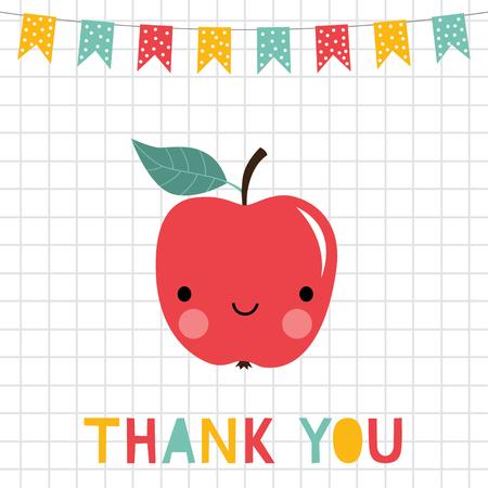 Merci carte de jour des enseignants avec une pomme souriante Vecteurs
