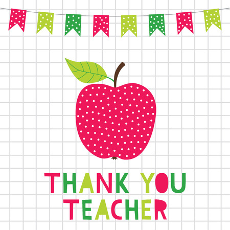 Teacher appreciation card with an apple
