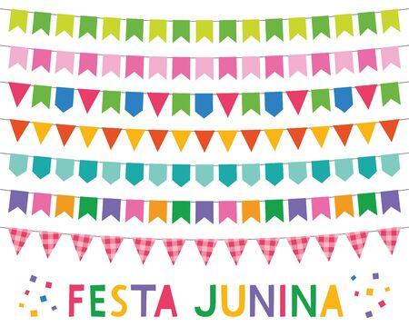 Festa Junina, fête de juin au Brésil, ensemble de bannières Vecteurs