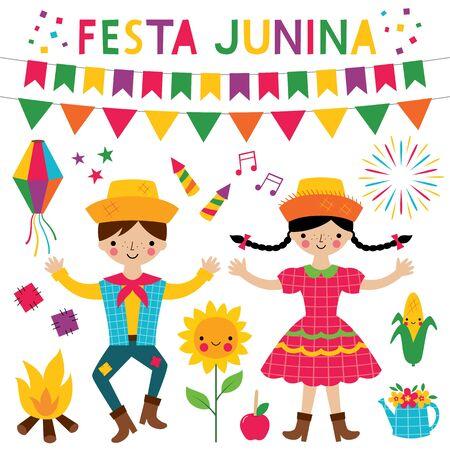 Festa Junina couple dansant et décoration, fête traditionnelle de juin au Brésil Vecteurs