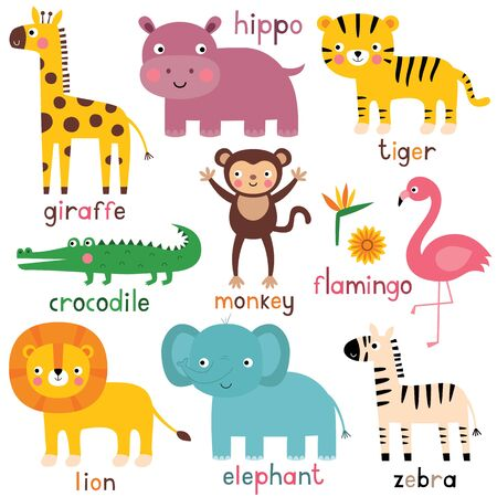 Exotic  animals (giraffe, hippo, tiger, crocodile, monkey, lion, elephant, zebra, flamingo)