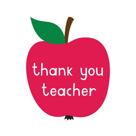 Thank you Teachers Day card with an apple Illustration