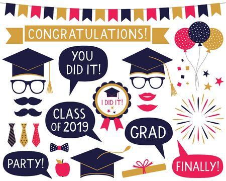 Graduation party set Illusztráció