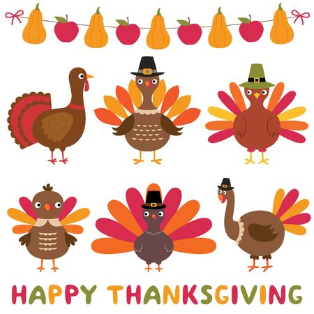 Thanksgiving turkeys and decoration, isolated design element set Ilustração