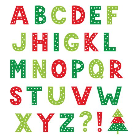 Christmas cartoon vector alphabet, isolated design elements