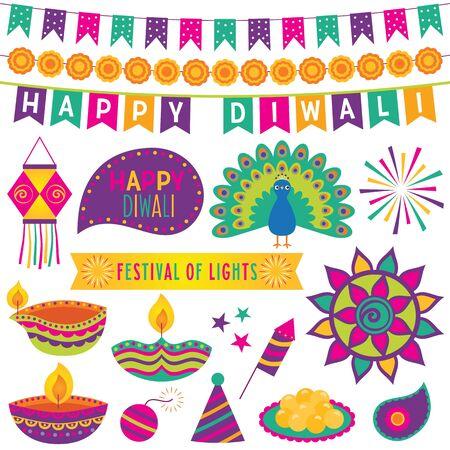 Diwali Festival of Lights, design elements and decoration, vector set