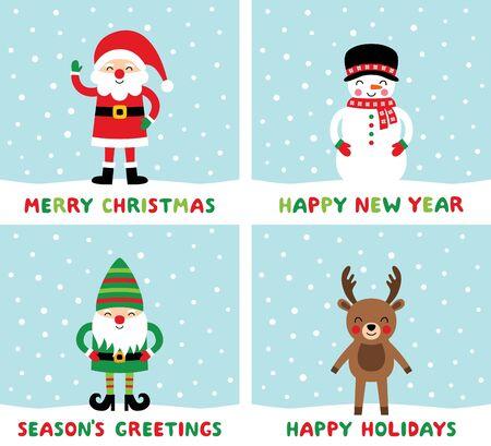 Christmas cards set - Santa, elf, deer, snowman