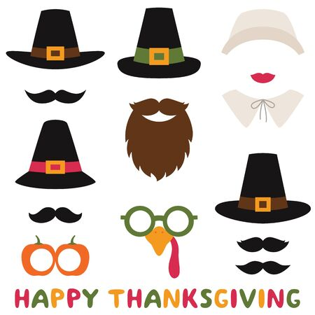 Thanksgiving vector photo booth props, pilgrim hats and bonnet