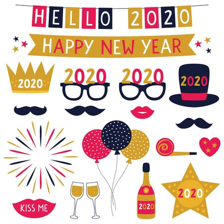 New Year 2020 banners party props, holiday set