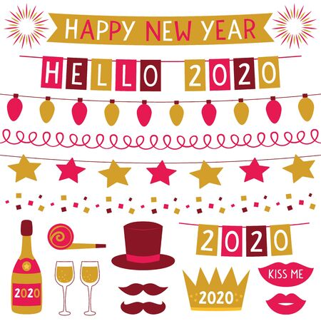 New Year 2020 vector decoration set - party banners, hat, lips, champagne, mustache, crown Illustration