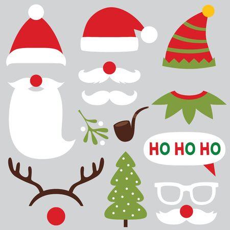 Weihnachtsfotoautomat und Scrapbooking-Vektorset - Weihnachtsmann, Hirsch, Elf