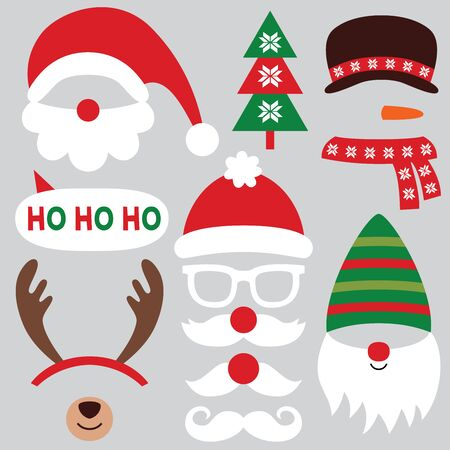 Christmas party props, vector set - Santa hats and mustache , deer horns, gnome and snowman