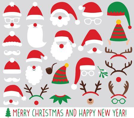 Chapeaux de père Noël et d'elfe, bois de renne, ensemble de vecteurs de fête de Noël