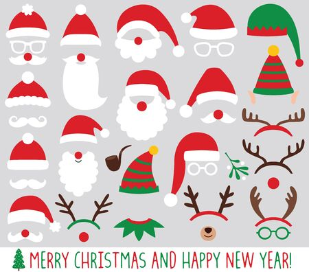 Weihnachtsmann- und Elfenhüte, Rentiergeweihe, Weihnachtsfeier-Vektorset