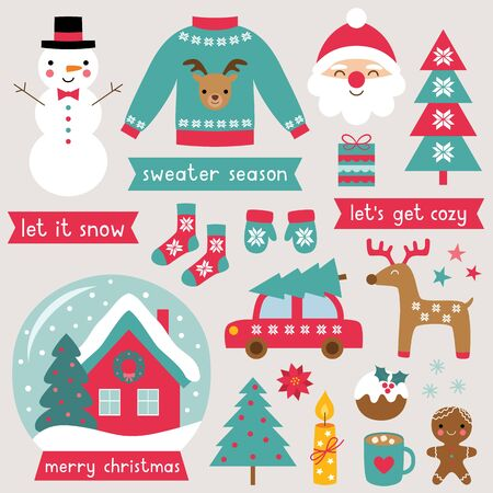 Christmas time winter clip art vector set