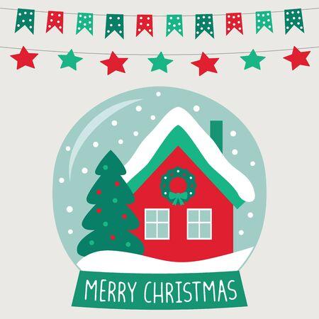 Christmas glass ball with a cute cartoon house, greeting card