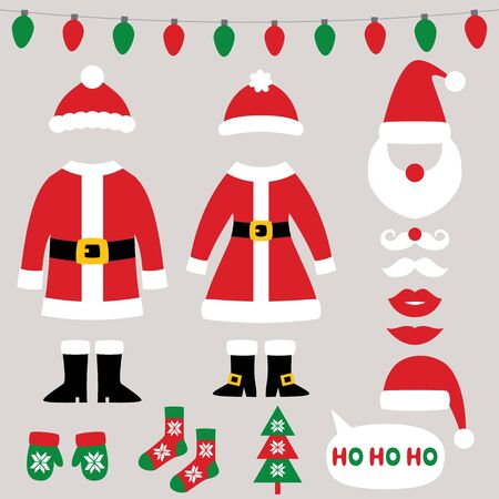 Santa Claus clothes, Christmas and New Year vector set, coats, hats, mittens, boots, socks Ilustracja