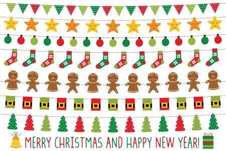 Luces de Navidad y pancartas navideñas, conjunto de vectores