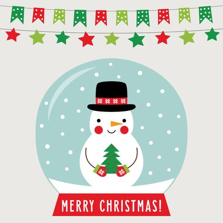 Christmas glass ball with snowman, greeting card