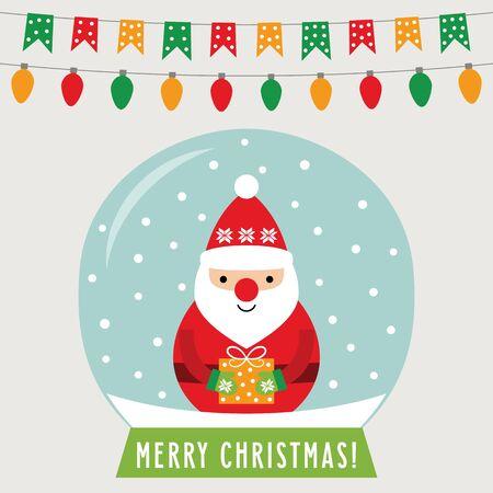 Christmas glass ball with Santa Claus, greeting card