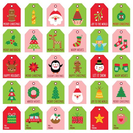 Christmas gift tags and labels, vector set, isolated on white Illusztráció