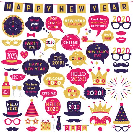 Happy New Year 2020 photo booth props, vector party signs and decoration set  Illustration