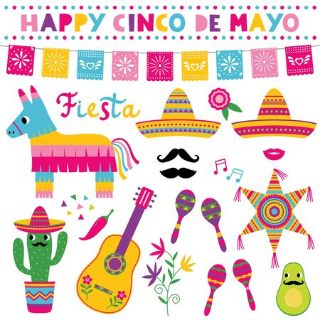 Cinco de Mayo, national Mexican holiday, vector set, sombreros, pinatas, a guitar, colorful banners and decoration Illustration
