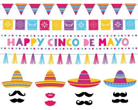Cinco de Mayo vector set, sombrero hats and decoration Vector Illustration