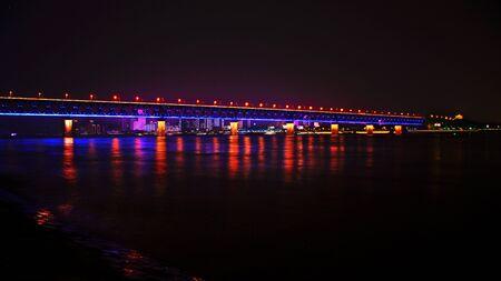 Wuhan Yangtze River Bridge at night