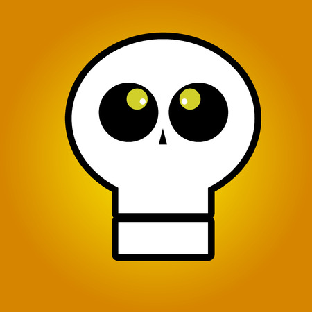 ghost face: astratto fantasma faccia su un sfondo arancione Vettoriali