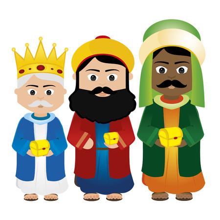 three kings: Abstract Magi Cartoon on a white background Illustration