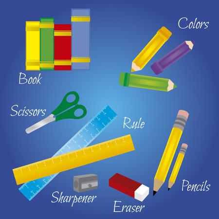 objetos de la escuela abstractas sobre un fondo azul