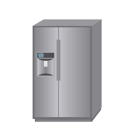small group of objects: abstract cartoon fridge on a white background
