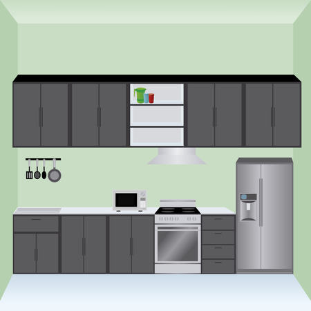 small group of objects: abstract kitchen background with some special objects Illustration