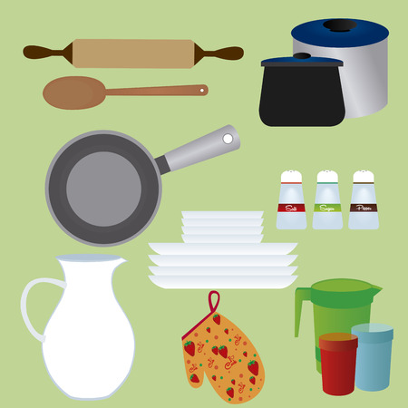small group of objects: abstract kitchen tools on a green background