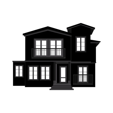 abstract building: abstract Building silhouette on a white background Illustration
