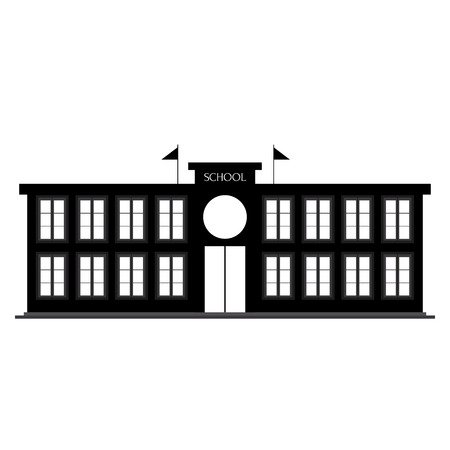 abstract school Building silhouette on a white background