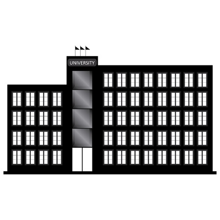 university building: abstract University Building silhouette on a white background