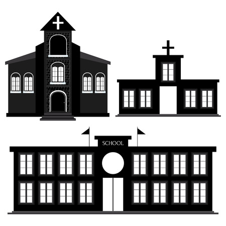 school illustration: abstract Buildings silhouettes on a white background Illustration