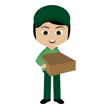 paper delivery person: abstract delivery symbol on a white background