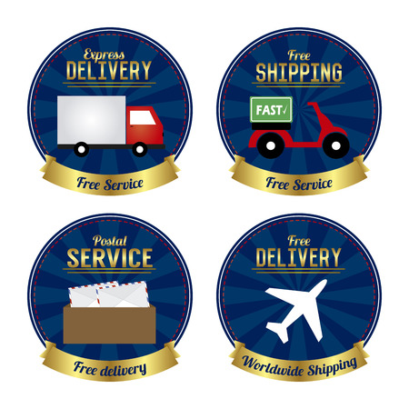 packaging equipment: abstract delivery symbols on a white background