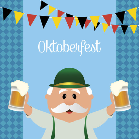 abstract oktoberfest background with some special objects  イラスト・ベクター素材