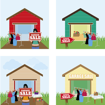 abstract garage sale background with some special objects Vector