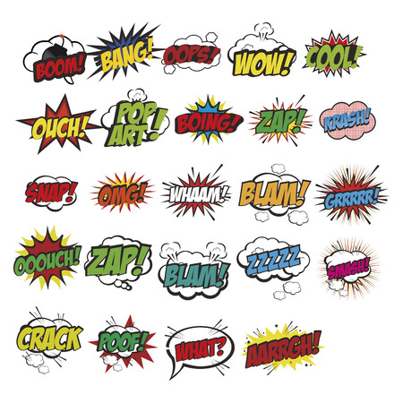 a set of different colored comic expressions on a white background Illustration
