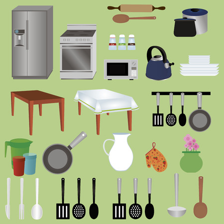 small group of objects: abstract set of kitchen objects on a green background