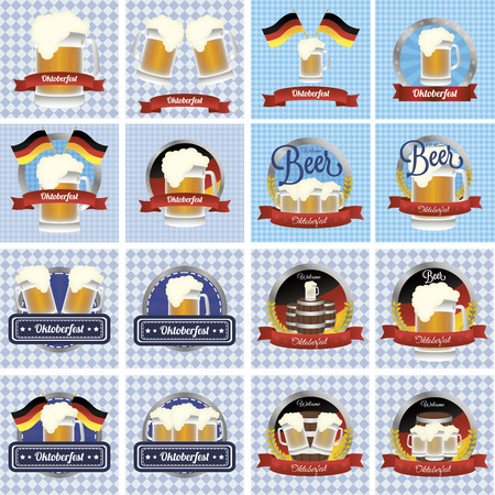 abstract set of oktoberfest background with some special objects Vectores