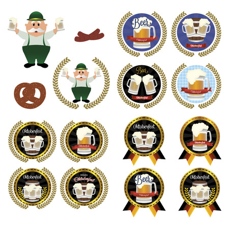 abstract set of oktoberfest objects on a white background