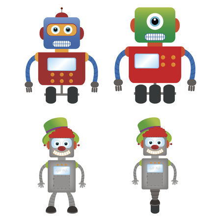 iron fun: abstract cute robots on a white background