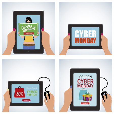 abstract cyber monday objects on a white background Vector