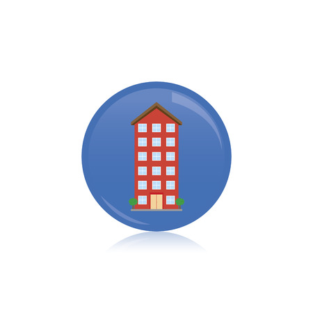 residential building: an isolated blue label with a colored residential building Illustration